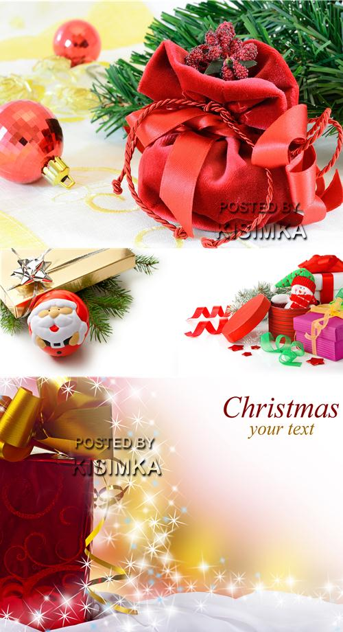 Stock Photo: Christmas gifts with ribbon