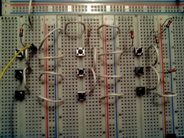 button keypad in breadboard
