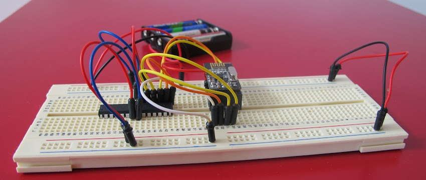 nRF24L01+ and ATMega368 on a breadboard