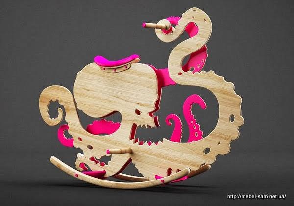Детская игрушка лошадка-качалка в виде осьминога