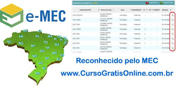 Cursos e Universidades Reconhecidas pelo MEC
