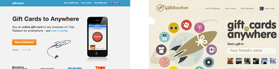 Side by side comparison of homepage redesign vs design of GiftRocket