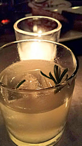Cocktail at the Bent Brick, stop 3 on the #LGPFoodCrawl, Smoke N' Herb with tito's vodka, rosemary, lavendar, lemon, smoked sea salt