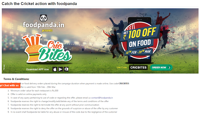 Enjoy great food from Foodpanda during this cricket world cup