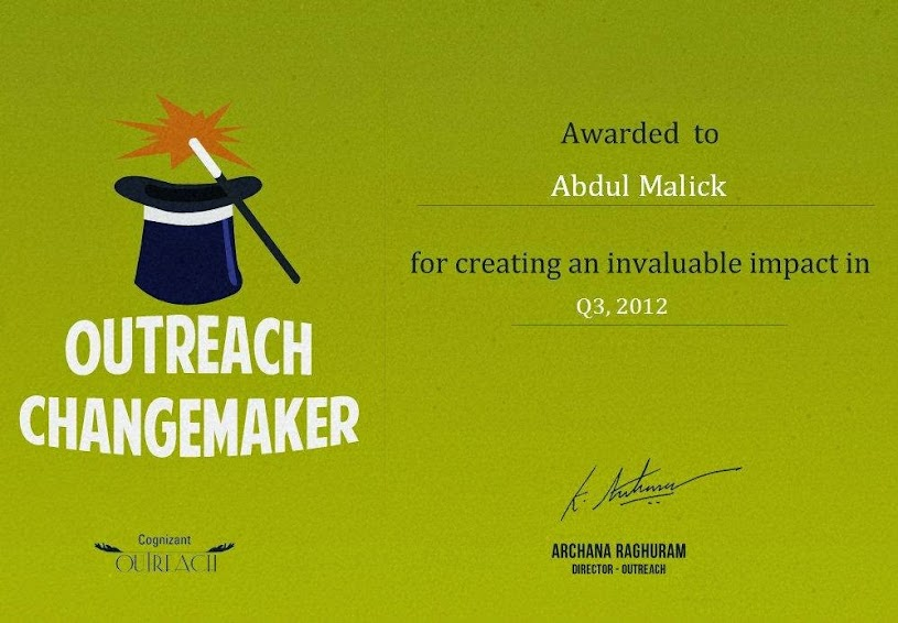 Cognizant Outreach Changemaker Certificate - Abdul Malick
