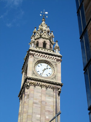 Clock tower in Belfast Ireland
