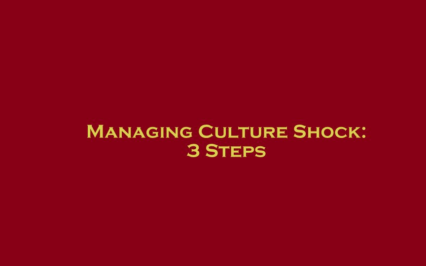 3 Steps to Managing Culture Shock