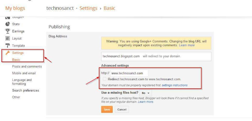 Blogger Settings for Custom Domain