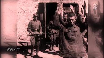 Sowjetische Kriegsgefangene mit erhobenen Händen, bewacht von Wehrmachtssoldaten.