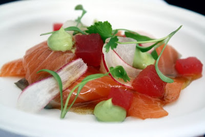 Jasmine and miso cured salmon with radish roots from Maze restaurant at Taste of London