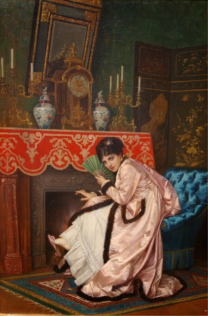 Auguste Toulmouche - Woman Sitting in Front of a Fireplace