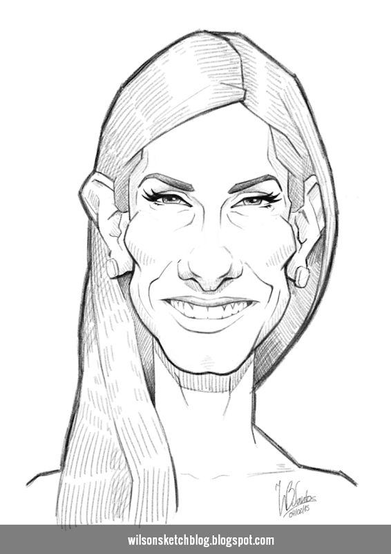 Caricature Sketch of Sandra Bullock.