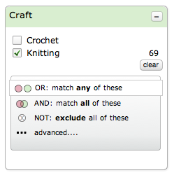 Ravelry faceted UI dropdown