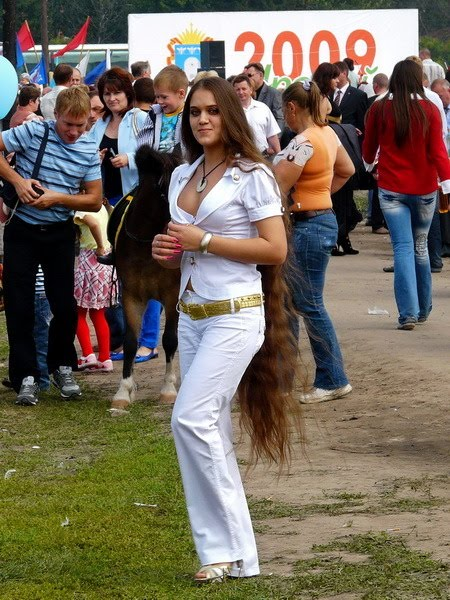 hair vitamins Very long hair Russian woman