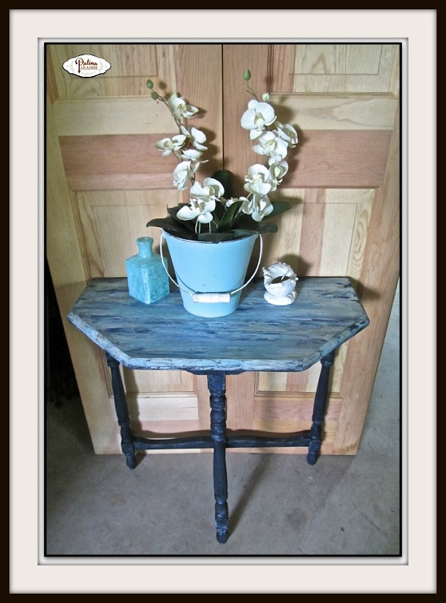 Coastal Side Table Painted With Putty Knife
