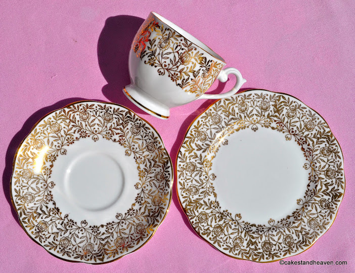 Queen Anne gold floral teacup, saucer, tea plate