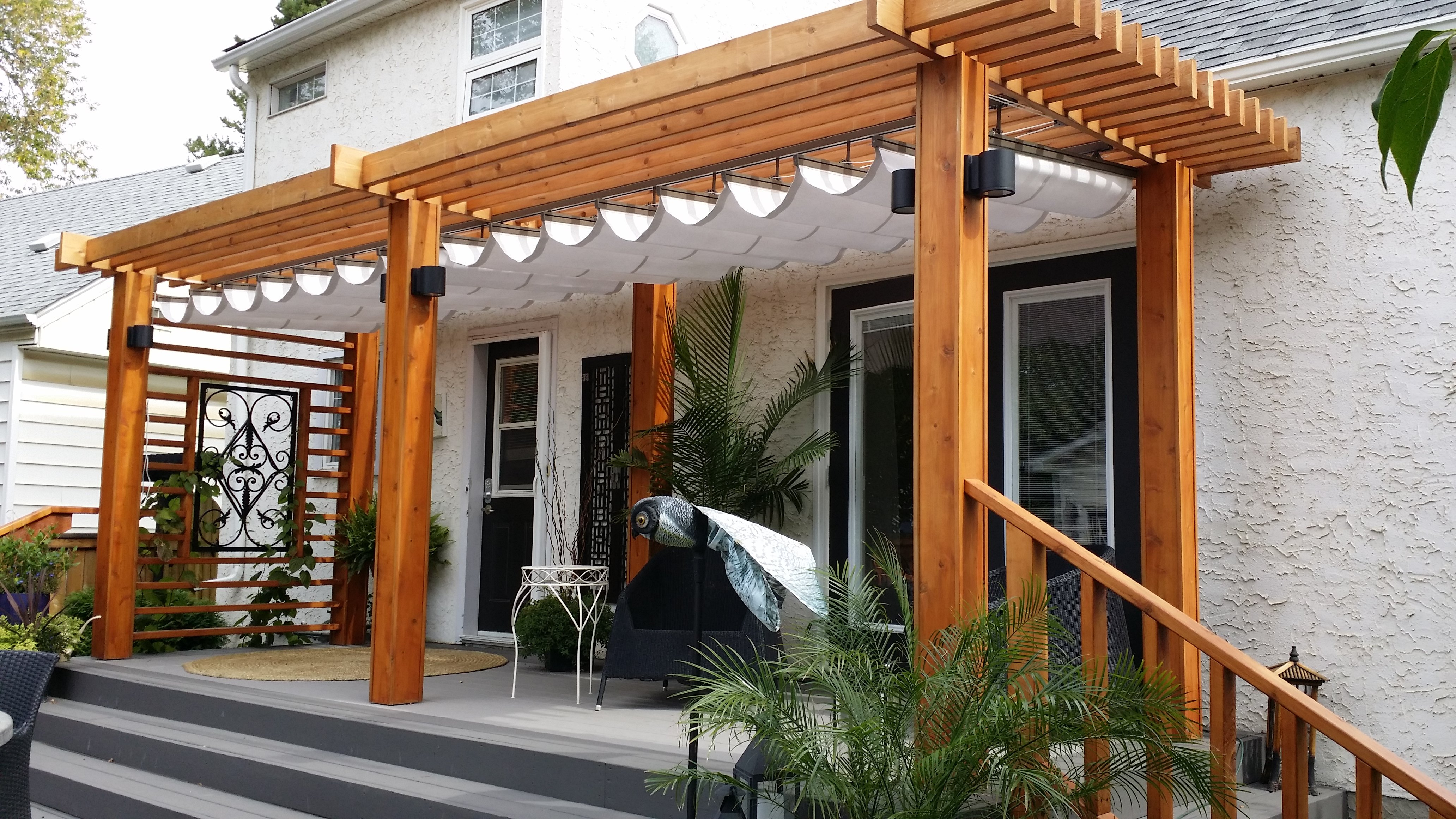 Retractable canopy for pergola - How Do You Top Off A Beautiful Cedar Pergola Why With A Betterliving Retract