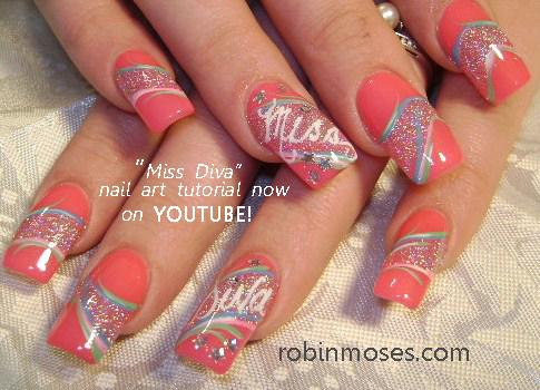 Nail Art Design Miss Diva Nail Pink Glitter Nail Miss Diva Cross
