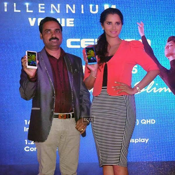 Sania Mirza unveils Celkon's Millennium Vogue Q455 in Mumbai, on July 25, 2014. (Pic: Viral Bhayani)