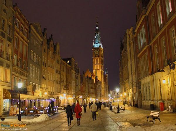 gdańsk nocą - stare miasto długi targ