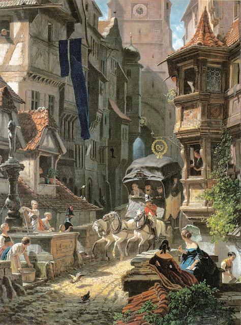 Carl Spitzweg - Ankunft der Postkutsche