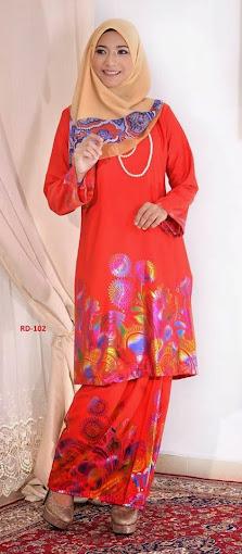 Baju Raya 2014 Baju Kurung Pahang Cotton 3D oren