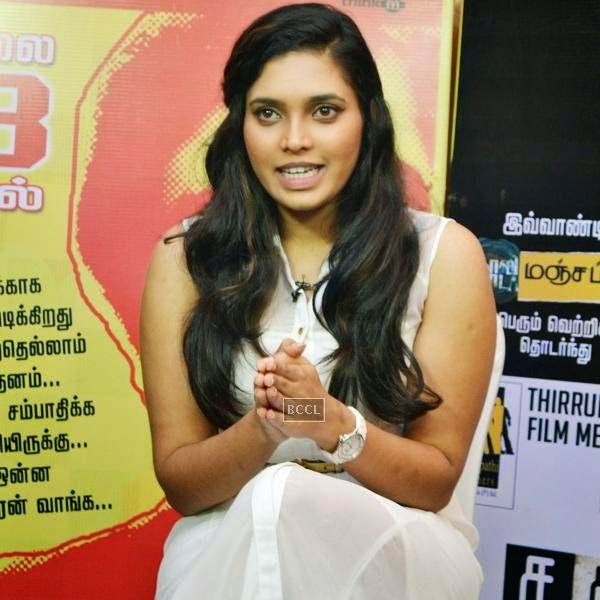 A guest during the press meet of Sathuranga Vettai, held in Chennai.