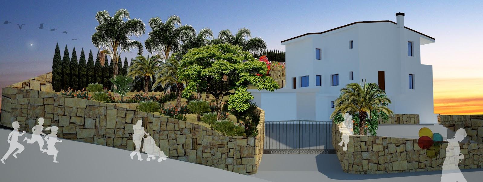 proyecto paisajismo diseño jardín jardinería tropical mediterráneo césped terrazas plano planos