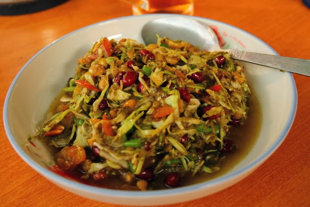 Pickled tea leaves salad from Burma