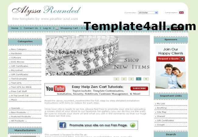 Free Jewelry Store Zencart Theme Template
