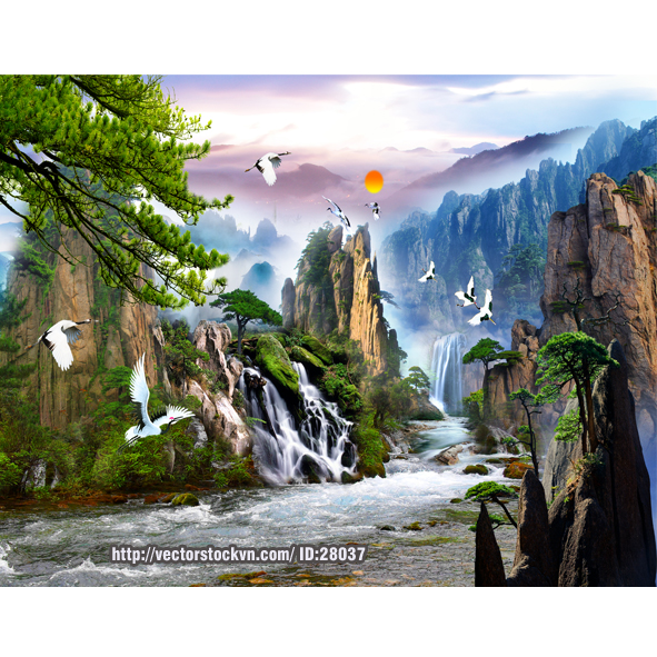 Tranh Dán Tường Cảnh Chim sông nước.