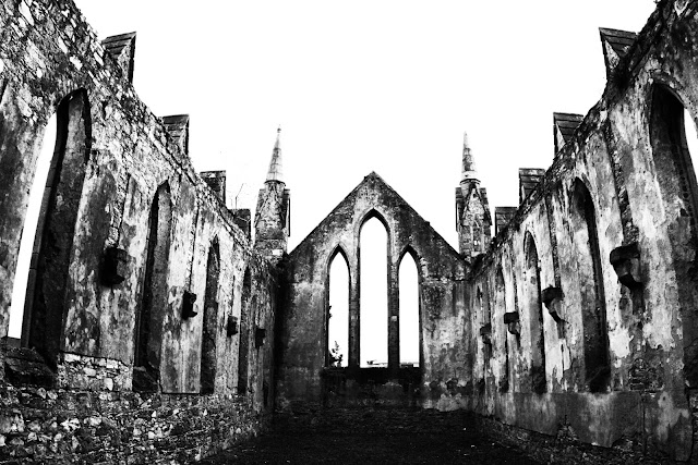 The remaining walls of a church in Wexford, Ireland.