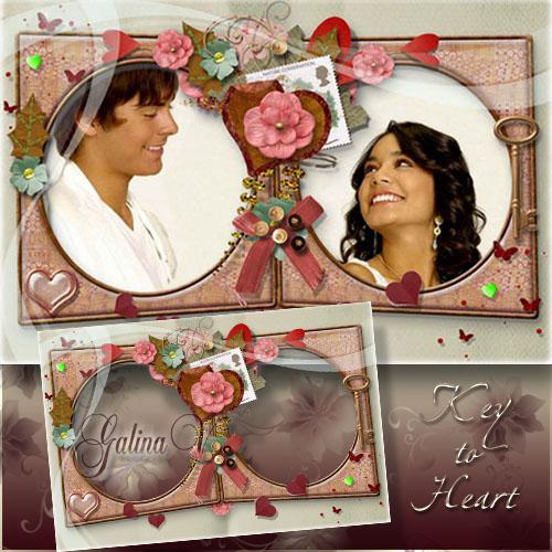 Рамка для фото влюблённых - Ключ к сердцу