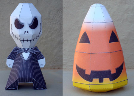 Candy Corn and Jack Skellington Paper Toy