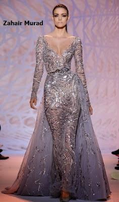 Vestido de Zahair Murad en tul bordado con efecto fantasia