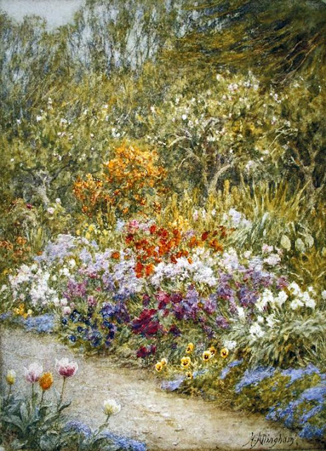 Helen Allingham - In the kitchen garden, Farringford