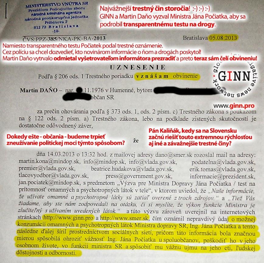 Policia obvinila novinara, ohovaral Pociatka