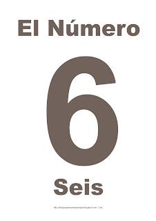 Lámina para imprimir el número seis en color marrón