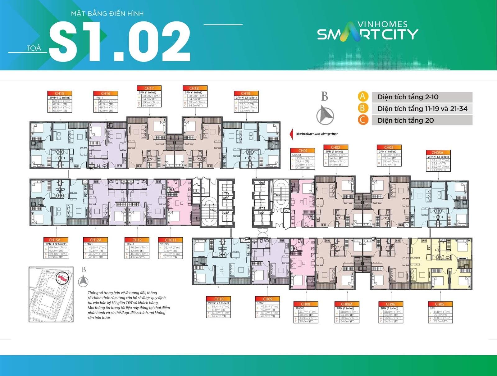 Mặt bằng điển hình toà S1-02 Vinhomes Smart City