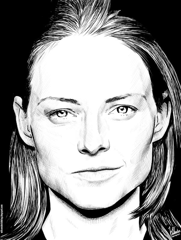 Ink drawing of Jodie Foster, using Krita 2.4.