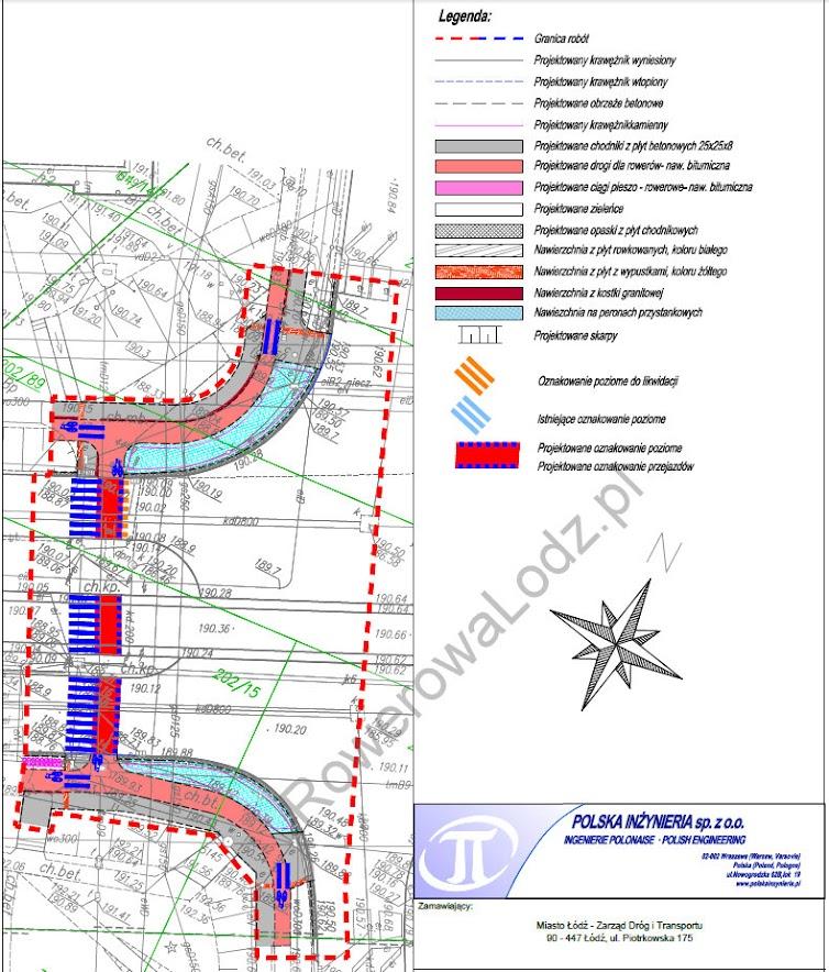 Projekt przejazdu dla rowerów przez al. Wyszyńskiego. Przejazd połączy dwa istniejące fragmenty dróg dla rowerów.