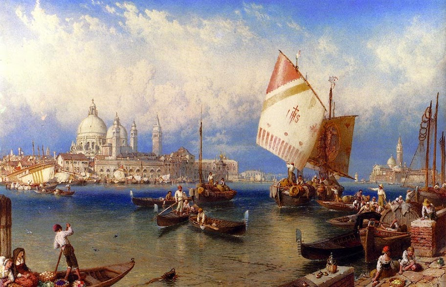 Myles Birket Foster - A market Day On The Giudecca Venice