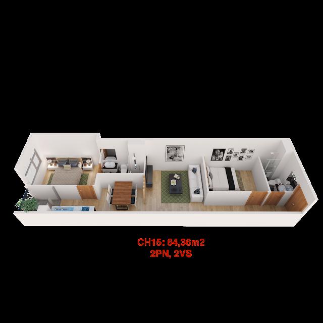 Thiết kế căn hộ 15 tháp doanh nhân