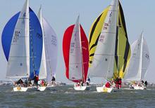 J/105 one-design sailboatss- sailing downwind at JFest Houston Tx
