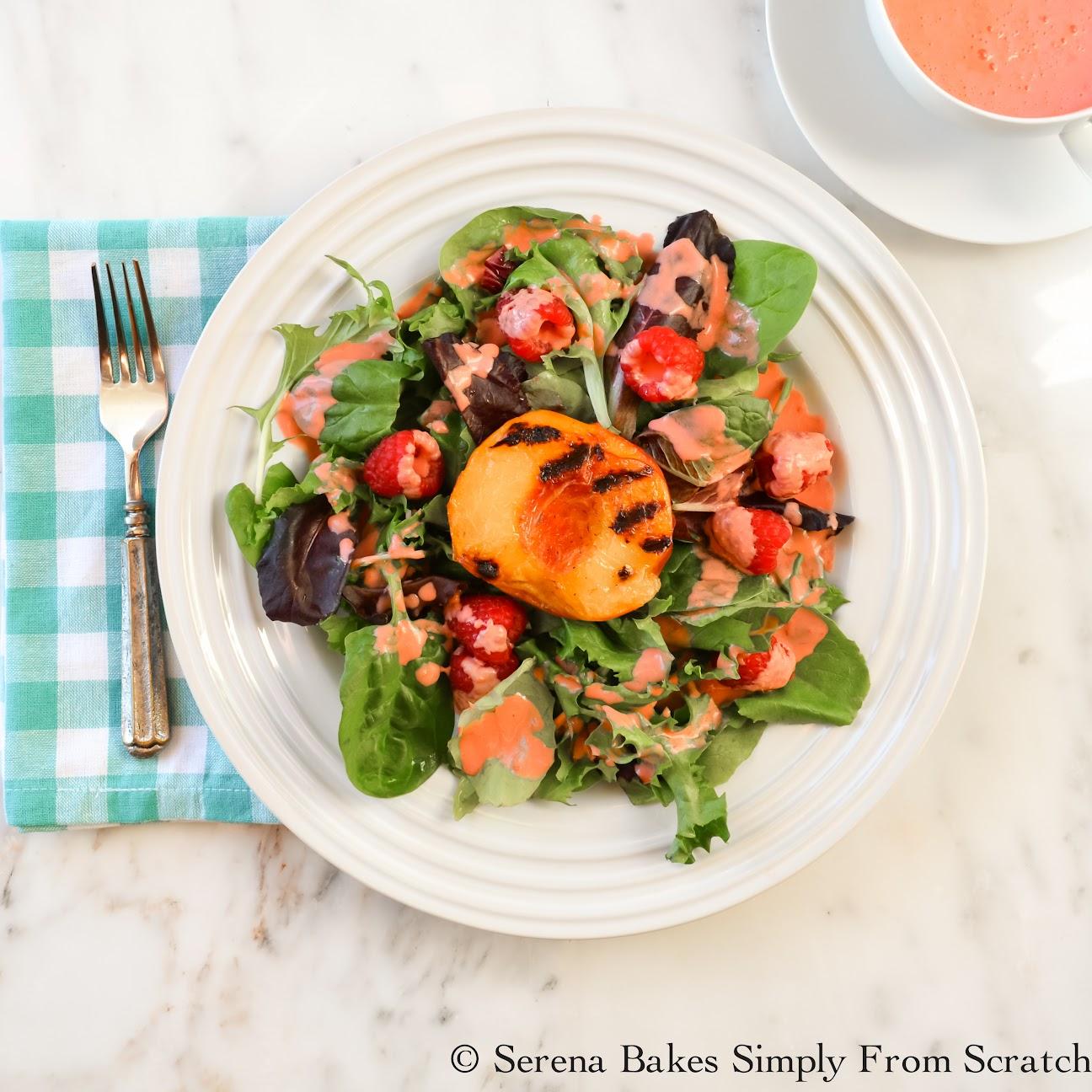 Grilled Peach Salad with Raspberry Vinaigrette