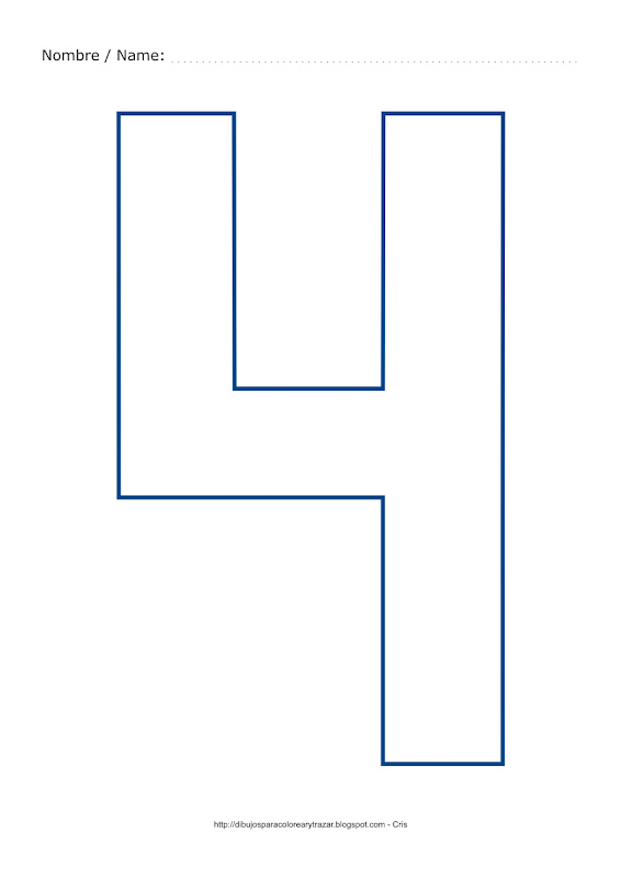 Dibujo para colorear y pintar el número cuatro en color azul