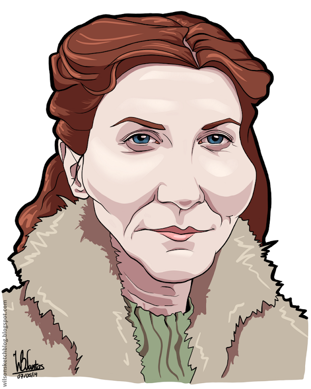 Cartoon caricature of Catelyn Tully from Game of Thrones.
