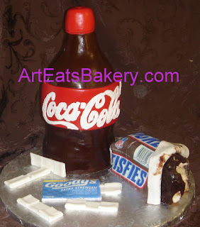Custom designed Coca Cola bottle, Snickers candy bar and goodys grooms 3D fondant Grooms cake