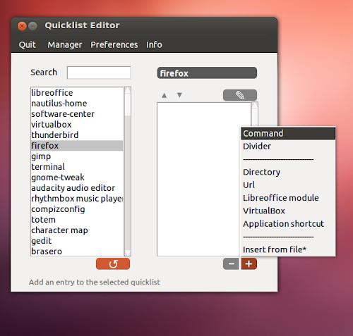 QLE Unity Quicklist editor per Ubuntu