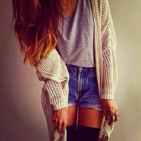 Amazing cardigan and grey shirt for fall